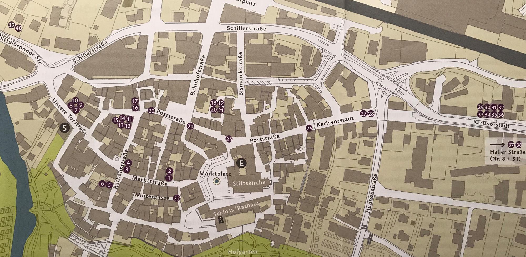 Plan der Stolpersteine in Öhringen